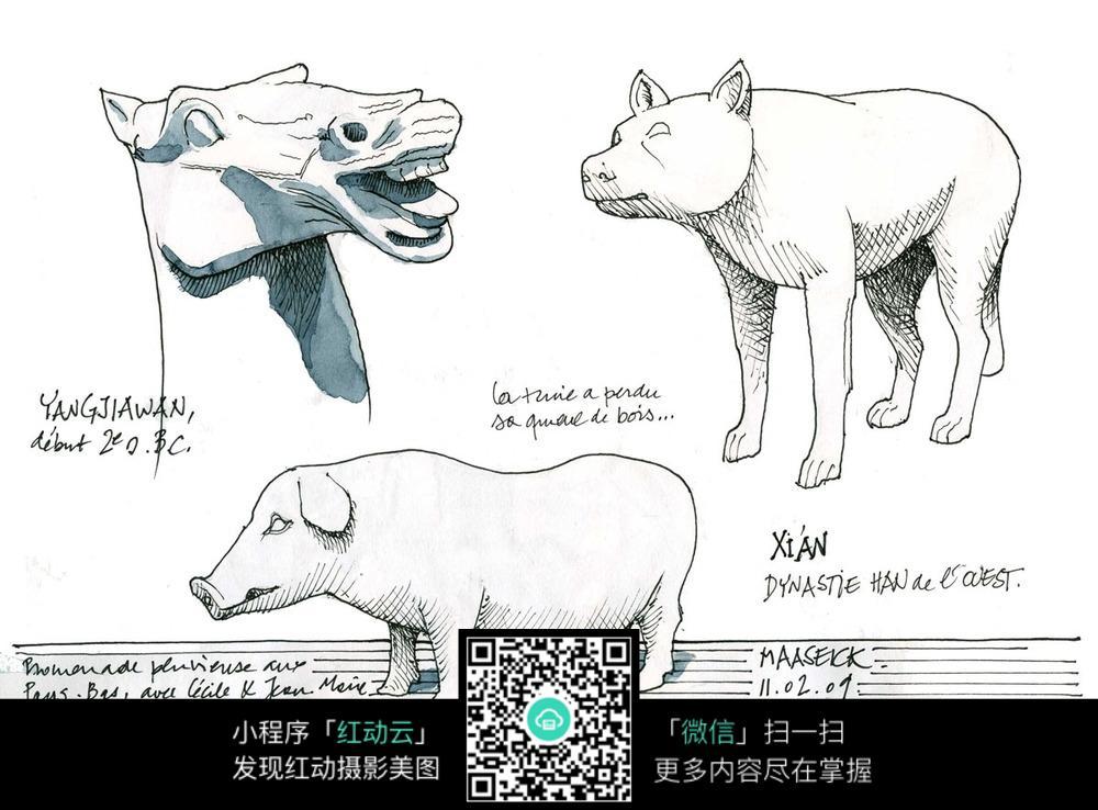 动物雕塑手绘素描画