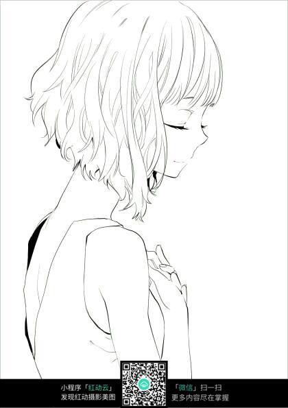 短发美少女侧面手绘线稿图图片