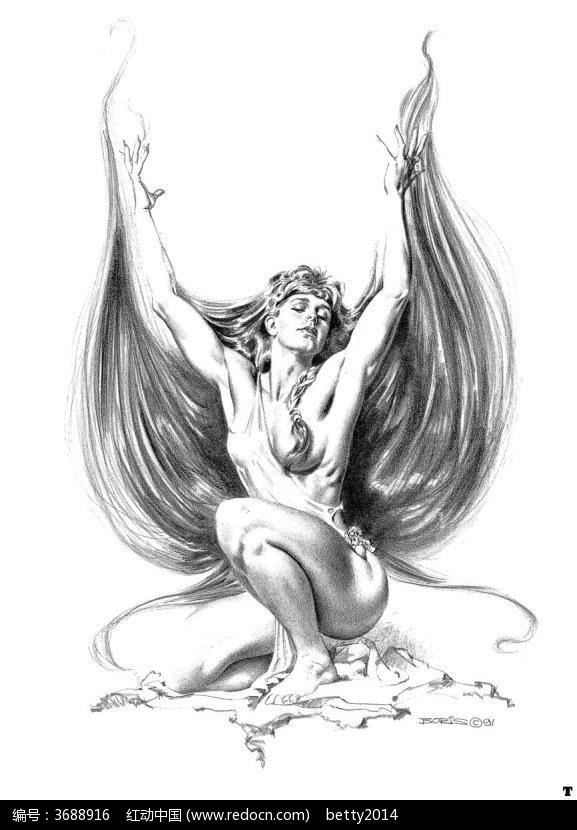 蹲着的长发裸体美女手绘素描图图片