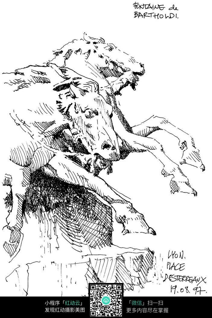 飞马雕塑手绘素描画图片