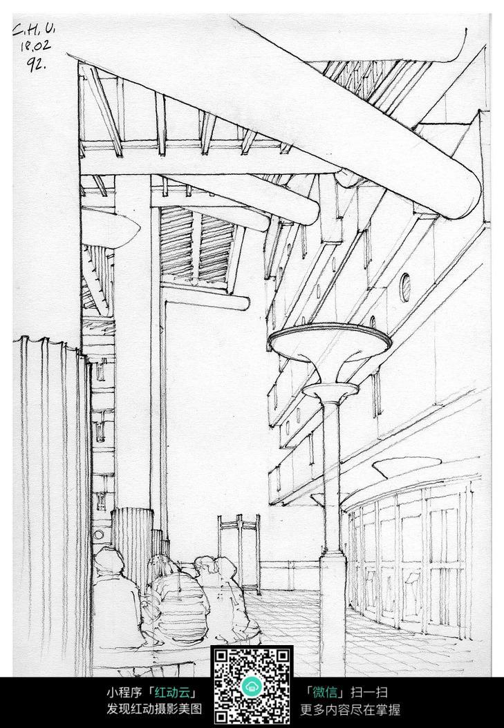 公共建筑室内空间手绘线描画