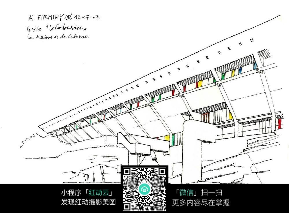 公共建筑手绘线描画