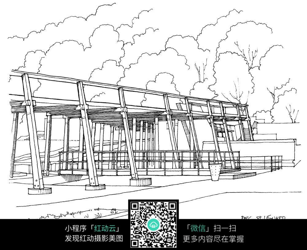 公共连廊建筑手绘线描画