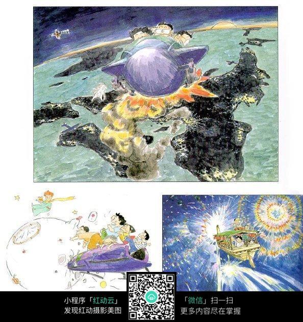 宫崎骏漫画人物场景手绘图图片