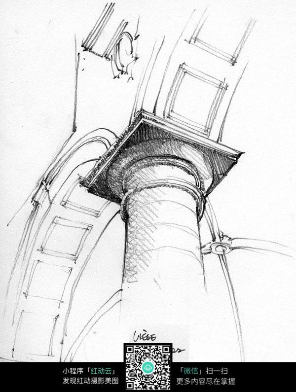 宫廷大厅石柱手绘图图片