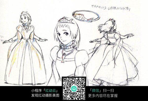公主女孩线描_人物卡通图片