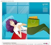 购物后正在休息的美女矢量素材图片