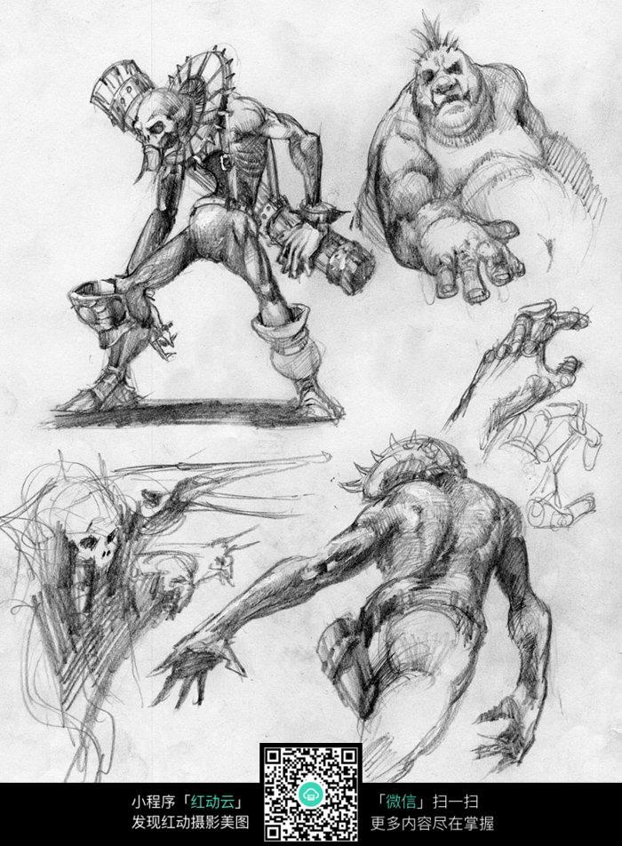 怪兽手绘素描画图片_人物卡通图片
