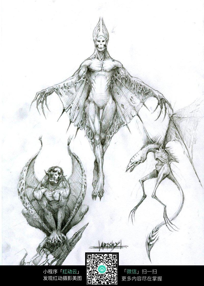 蝙蝠怪兽手绘素描画