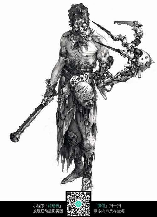 骷髅怪兽手绘素描图