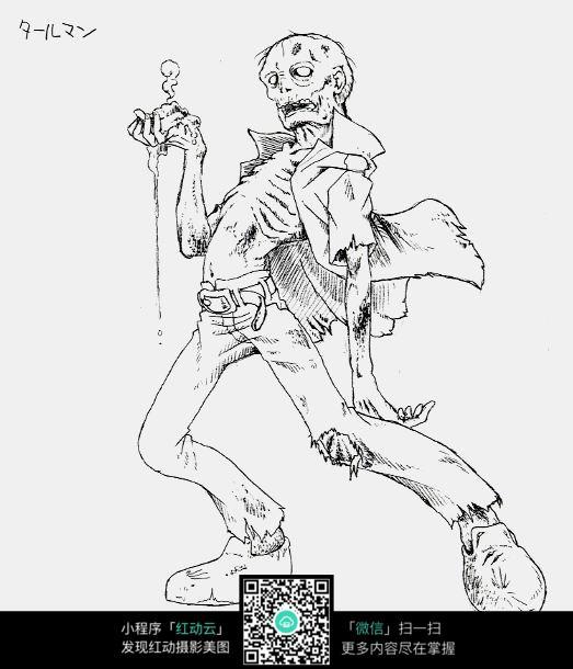 骷髅怪兽手绘线稿图