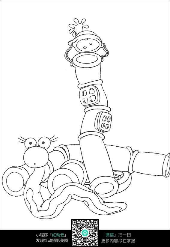 管道蛇卡通手绘线稿素材