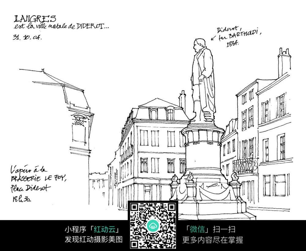 广场雕塑城市建筑手绘线描画图片免费下载 编号3700686 红动网图片