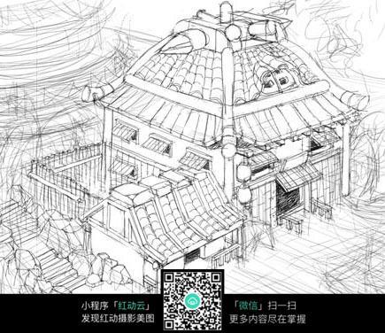 古代客栈建筑全景外观手绘图片