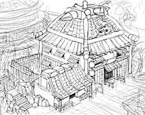 古代客栈建筑全景外观手绘