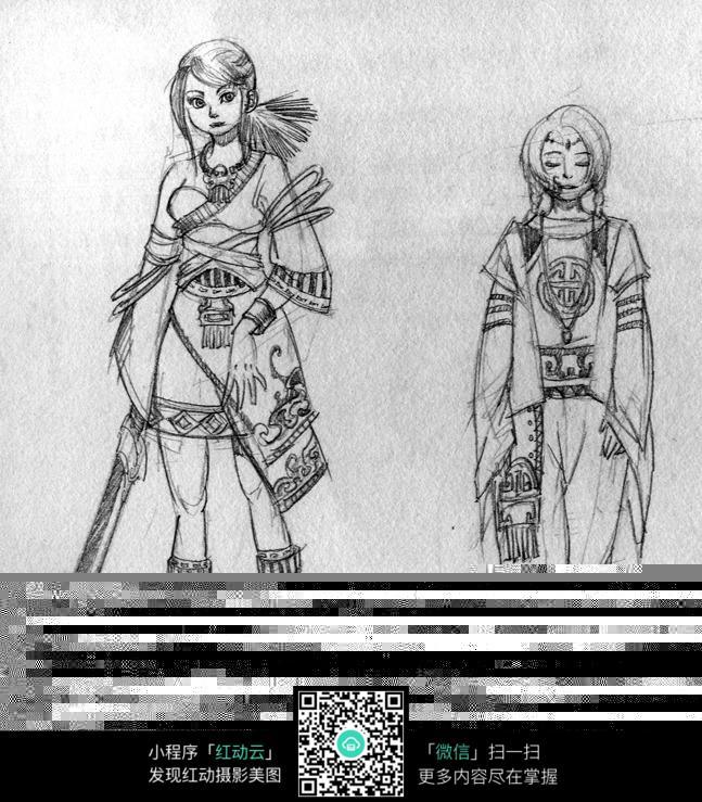 古代动漫人物线描_古代人物线描图片