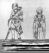 古代女孩人物线描