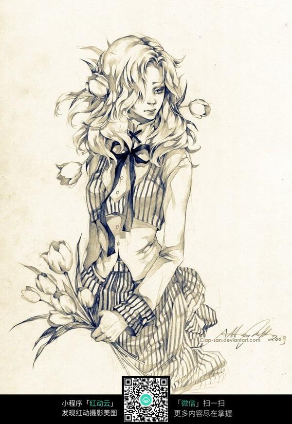 图片素材 漫画插画 人物卡通 跪在地上手拿花的女孩手绘线描画