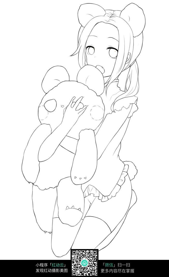 跪着抱小熊的美少女手绘线稿图_人物卡通图片