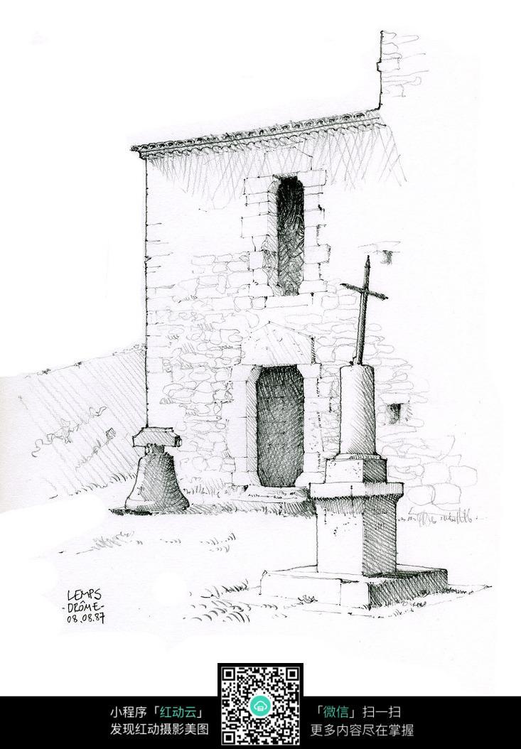 古建筑手绘素描画