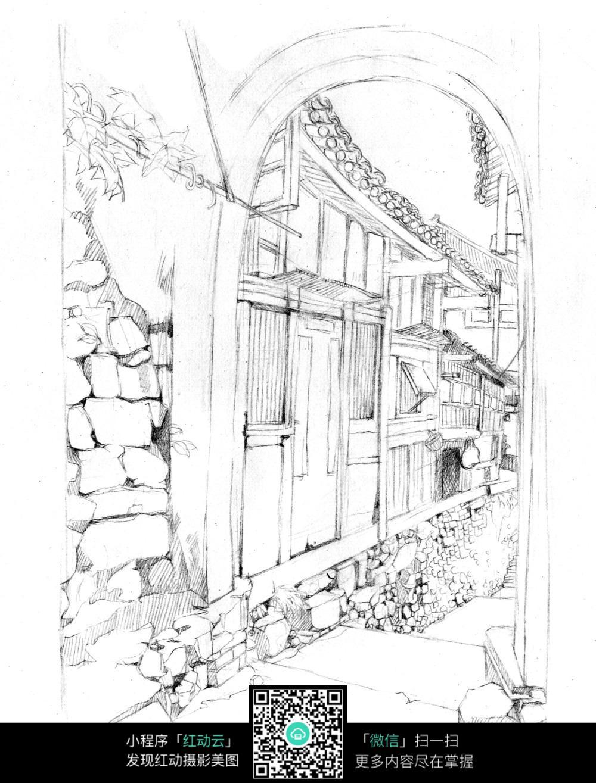 古建筑小巷线稿图