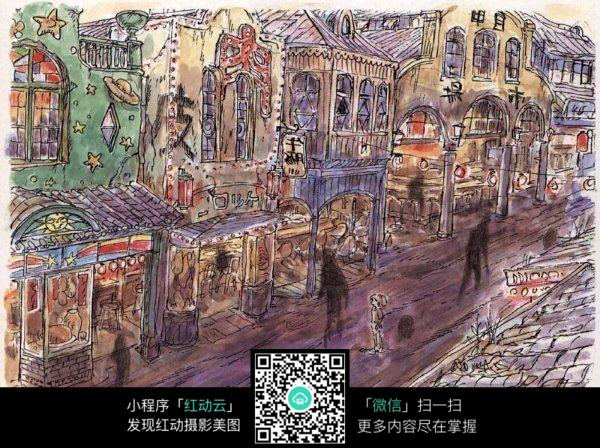 古街景色手绘水彩线描画