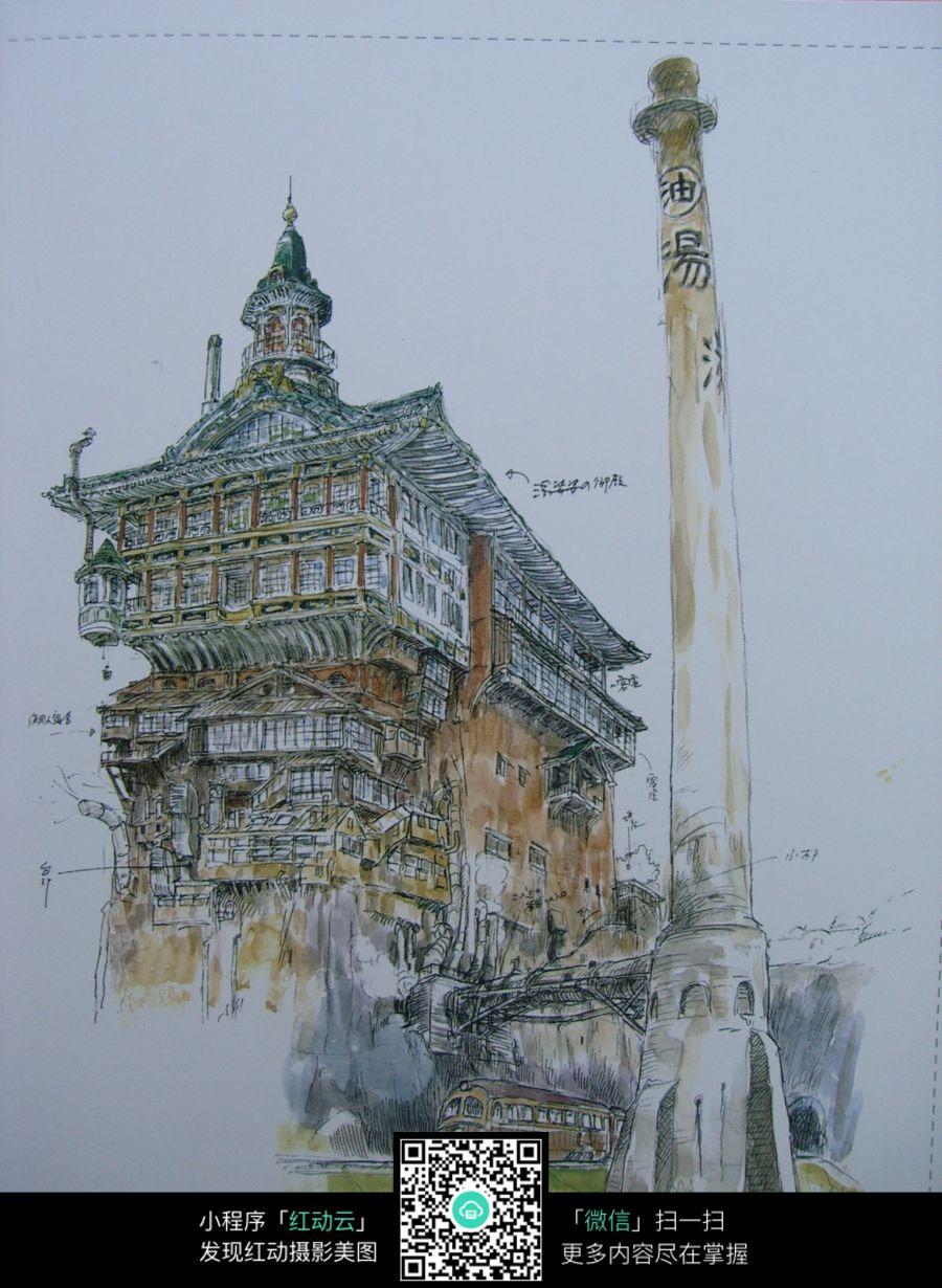 古老建筑手绘水彩线描画