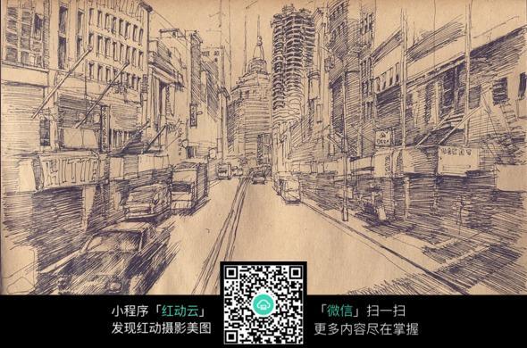 古老街景手绘上色稿图片