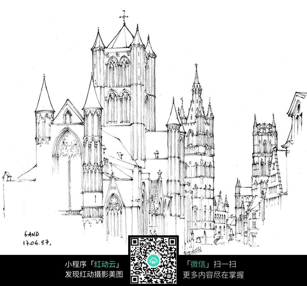 股欧式建筑临街手绘图