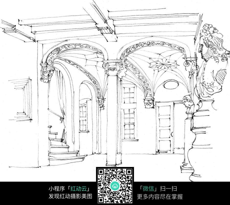 古欧式建筑室内设计手稿图片