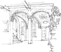 古欧式建筑室内设计手稿