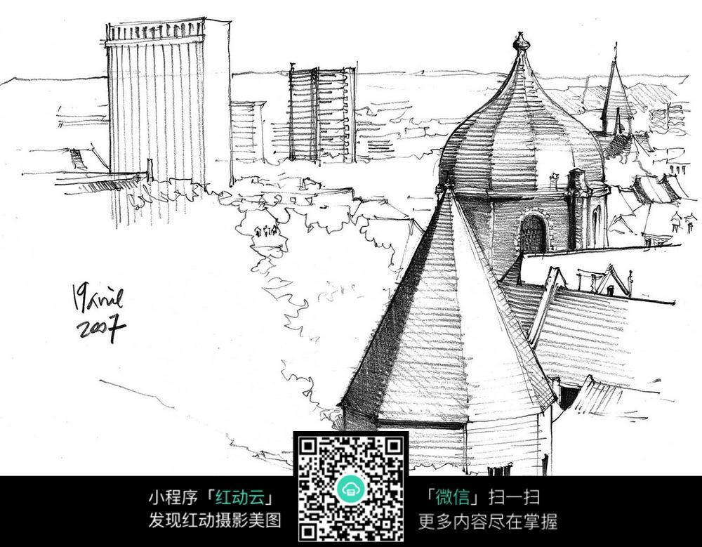 国外城市建筑风光手绘图