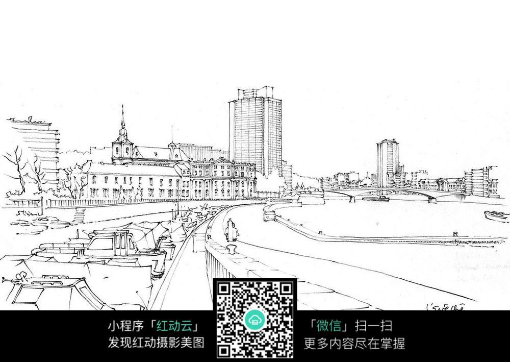 国外城市码头手绘图