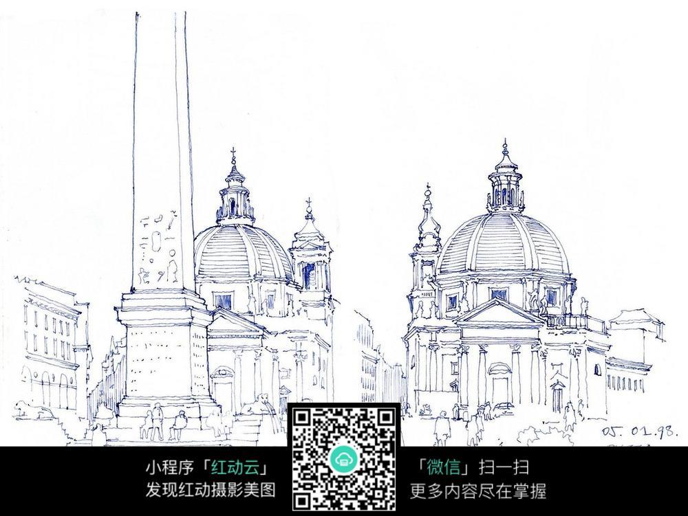 外古城堡手绘图_活动场景图