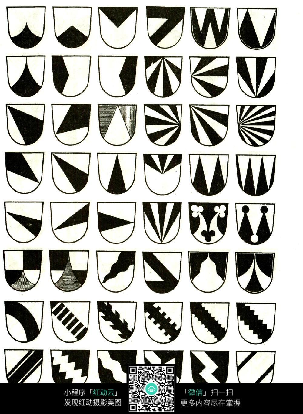国外黑白简洁盾牌图案