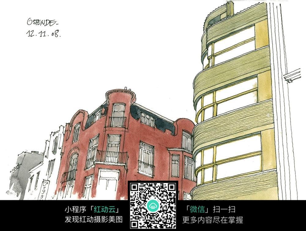 国外建筑彩色手绘图图片