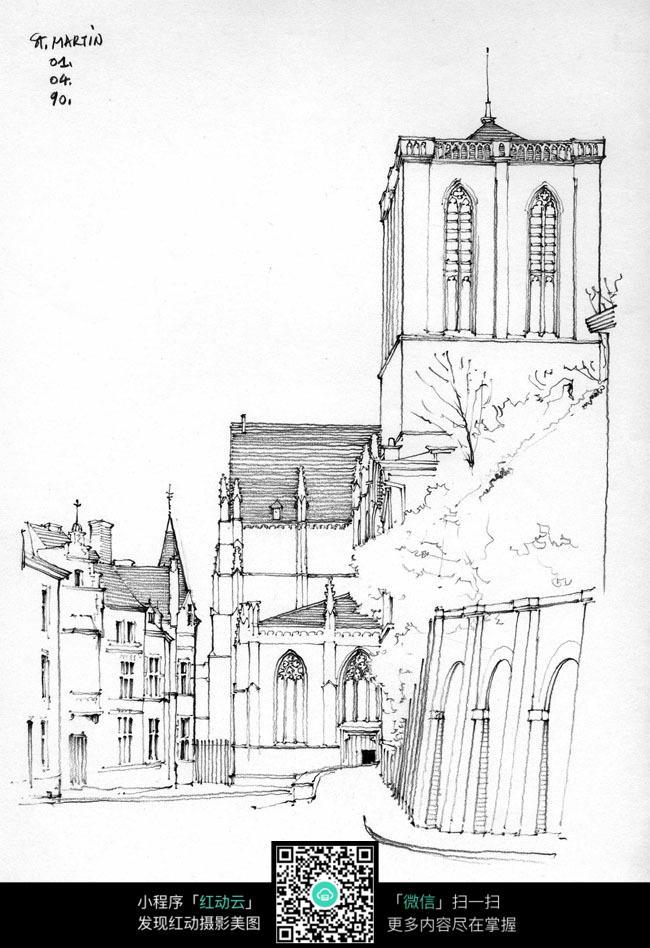 国外街边建筑手绘图