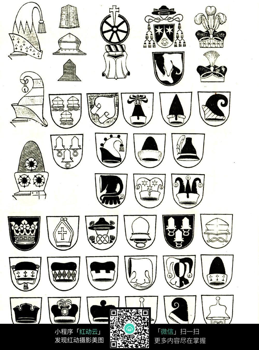 国外帽子精品纹章图案设计素材