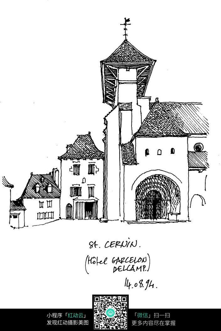 国外乡村建筑手绘稿
