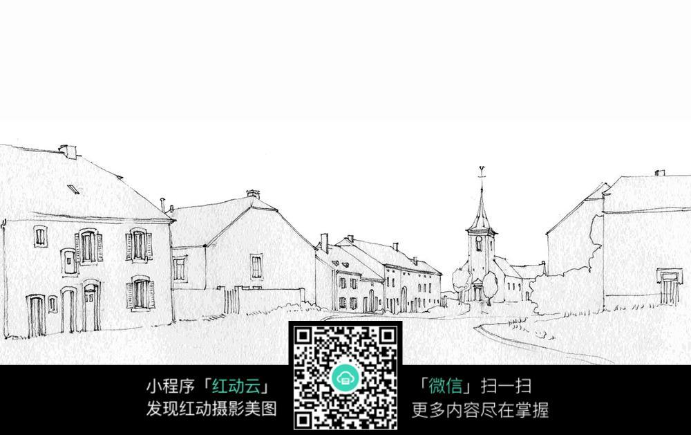 国外小城住宅建筑手绘图图片