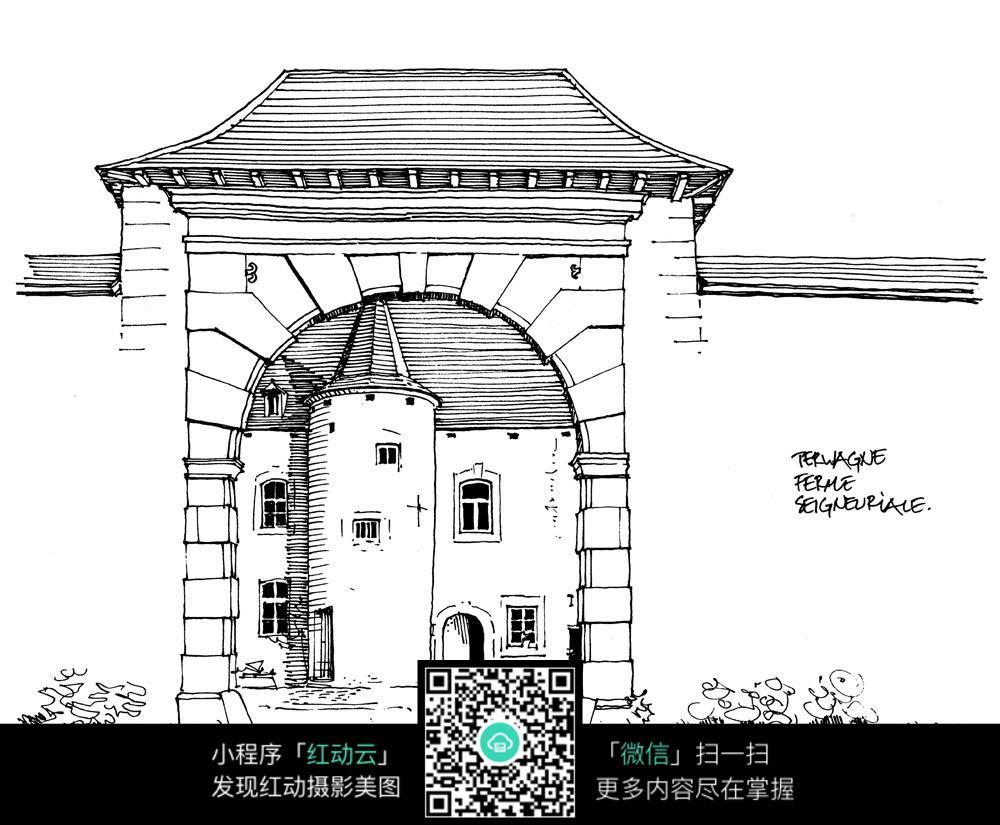 国外小教堂手绘插图