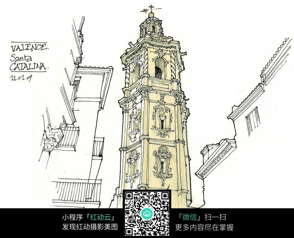 国外钟楼建筑彩色手绘图