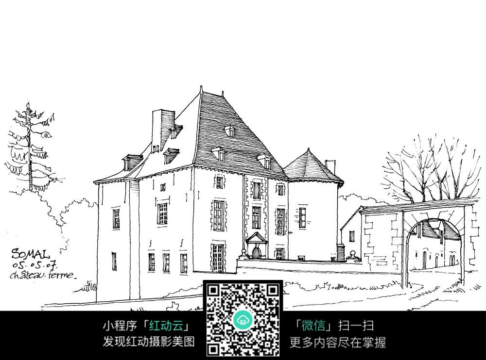 免费素材 图片素材 漫画插画 活动场景 国外庄园建筑手绘图  请您分享图片