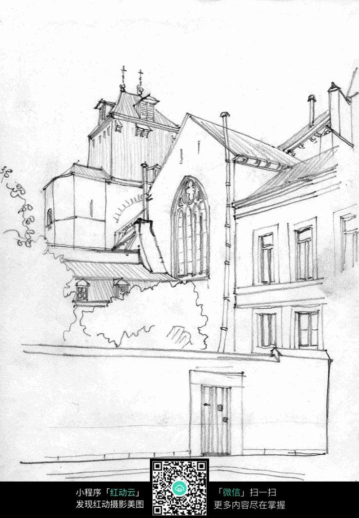 国外住宅建筑线稿手绘图图片