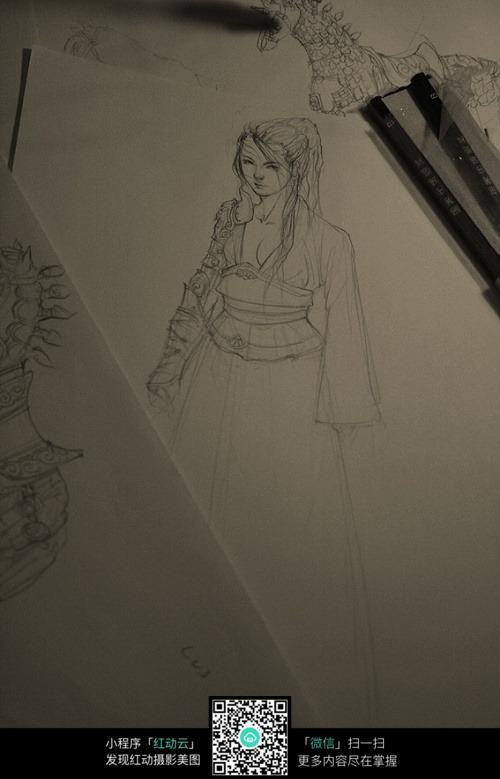 古装长发美女手绘线稿素材