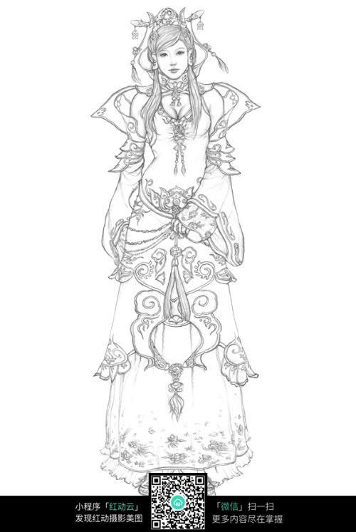 古装美女手绘线稿素材图片