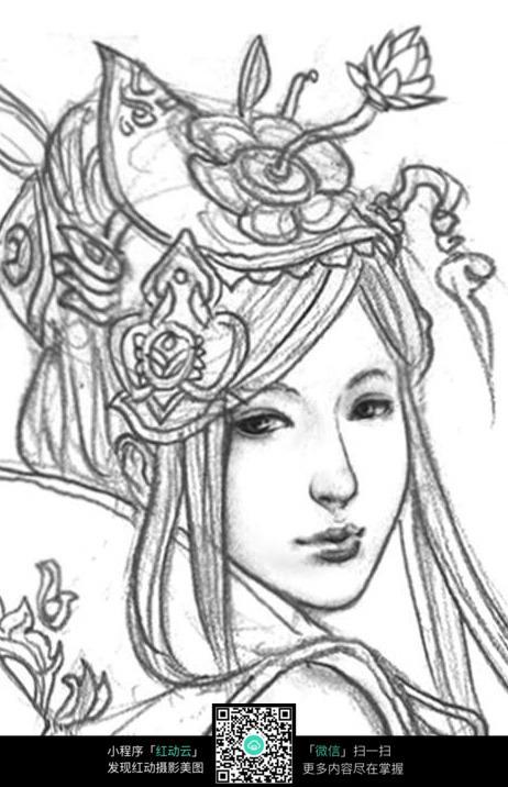古装美女头像手绘线稿素材图片