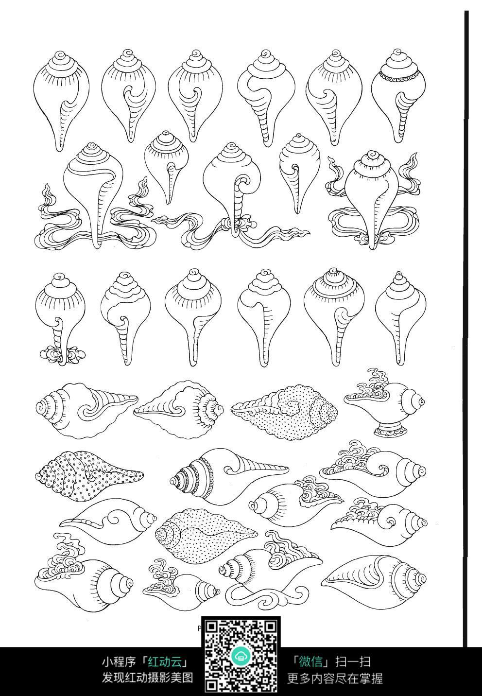 海螺装饰图案线描图形图片