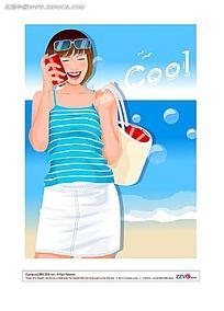 海滩边阳光美女矢量素材图片
