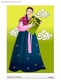 韩国传统服饰美女矢量素材图片